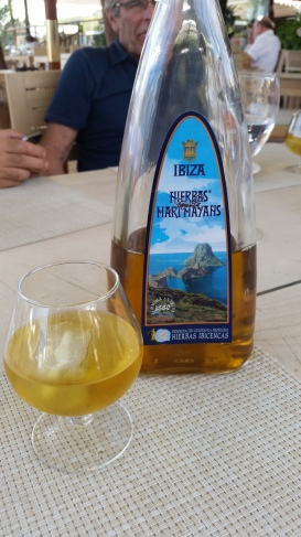 Hierbas Ibicencas served at the chiringuita on Playa Es Caballet